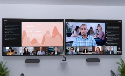 Image for: Noi inovații în sfera muncii hibride în Săli Microsoft Teams, Fluid și Microsoft Viva