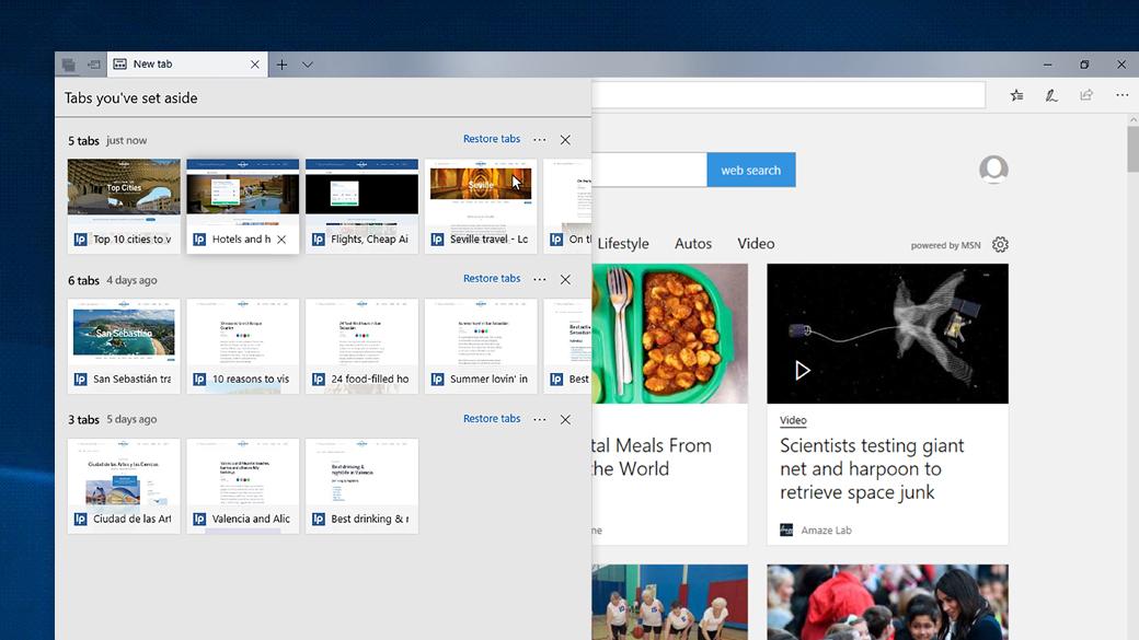 Изображение на экране нескольких закладок, которые управляются и упорядочиваются в Edge