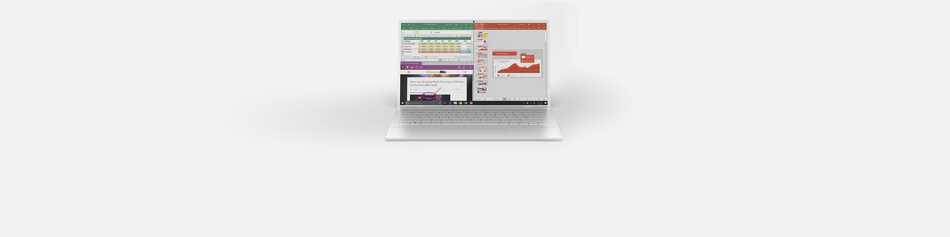 Ноутбук с приложениями Office на экране