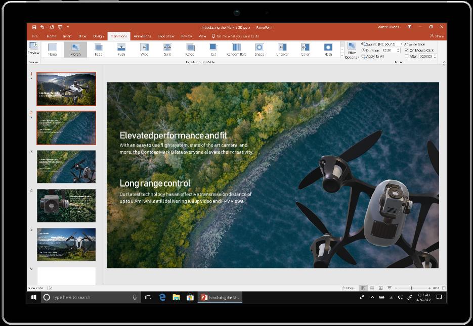 Изображение устройства, на котором открыто приложение PowerPoint из Office2019