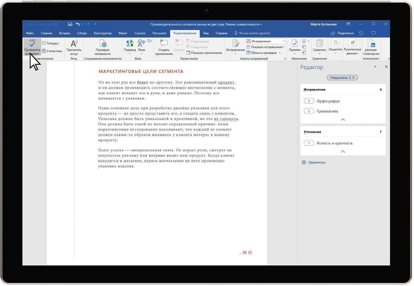 Изображение панели обзора результатов корректора в документе Word.