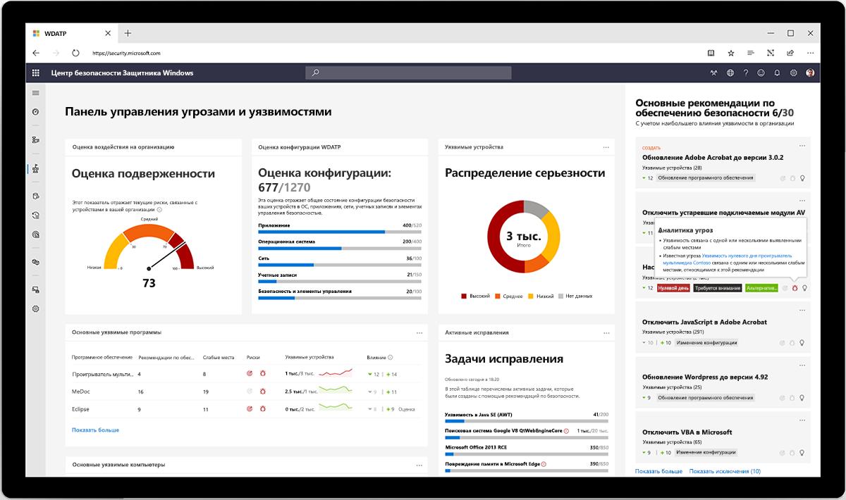 Изображение панели мониторинга Центр безопасности Защитника Windows.
