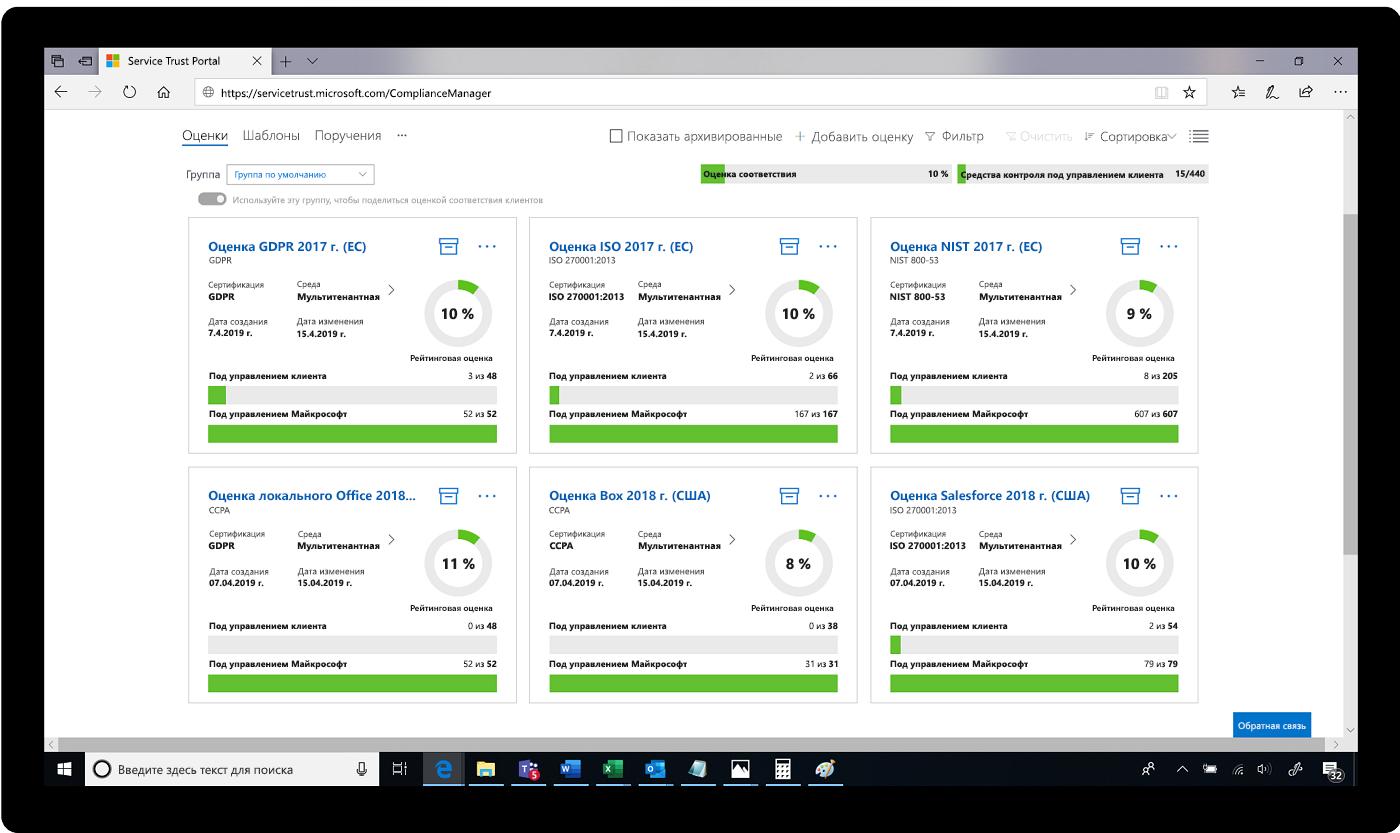 Снимок экрана Service Trust Portal с оценками.