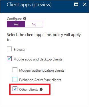 Apply conditional access rules to block client apps using legacy authentication methods.