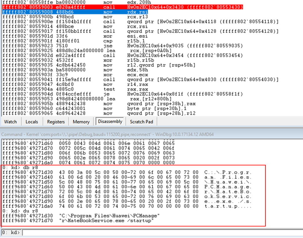 Breakpoint hit on the call to memcpy_s copying shellcode parameters.
