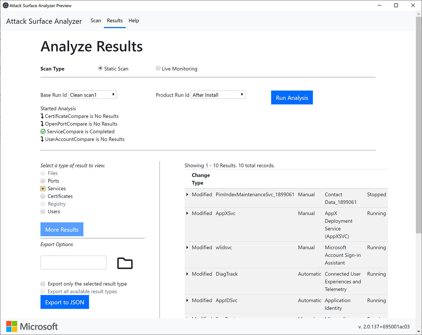 Results from the comparison analysis feature.