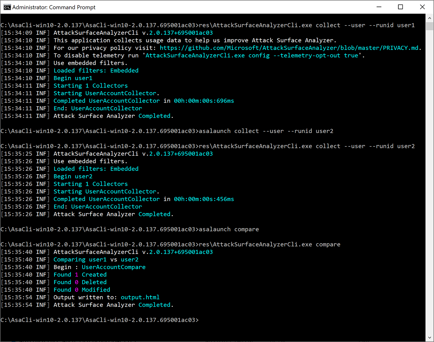 Results for the command line use option.