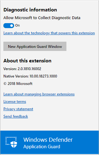 Users can initiate an Application Guard session without entering a URL.
