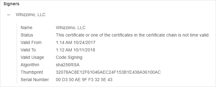 """Image showing """"Signers"""" using in the credential dumping tool signed using a stolen Whizzimo, LLC certificate."""