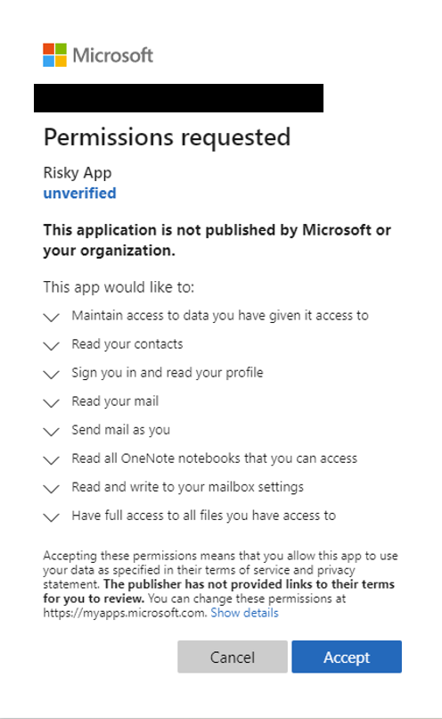 """An image of a Consent screen from a sample malicious app named """"Risky App."""""""