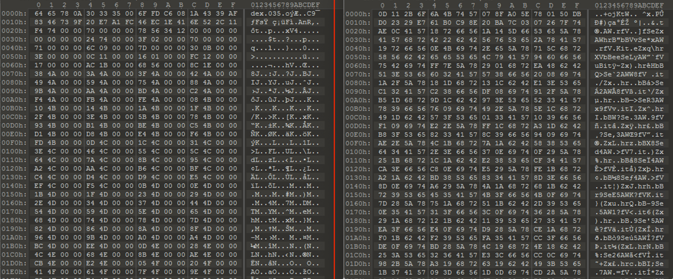 Comparison of code of Asset file before and after decryption