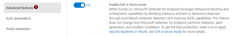 Screenshot of advanced settings in Microsoft Defender Security Center, where EDR in block mode can be enabled