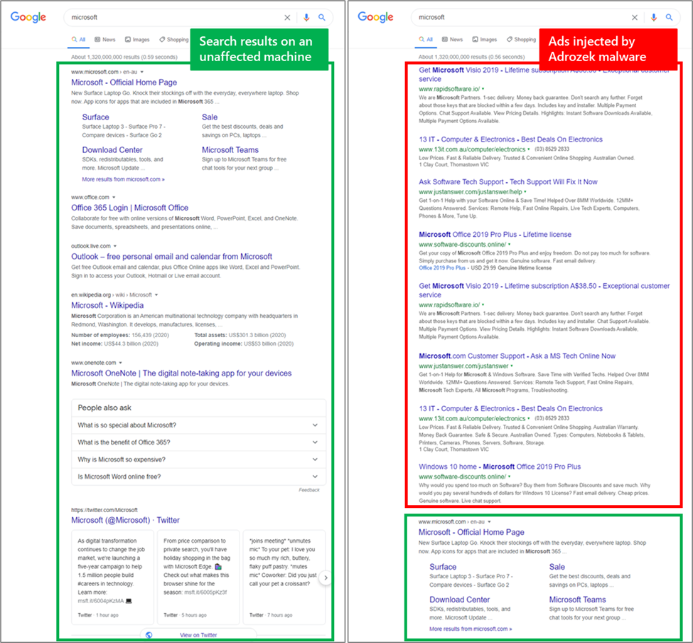 Screenshot of search results page on an affected machine and one affected by Adrozed