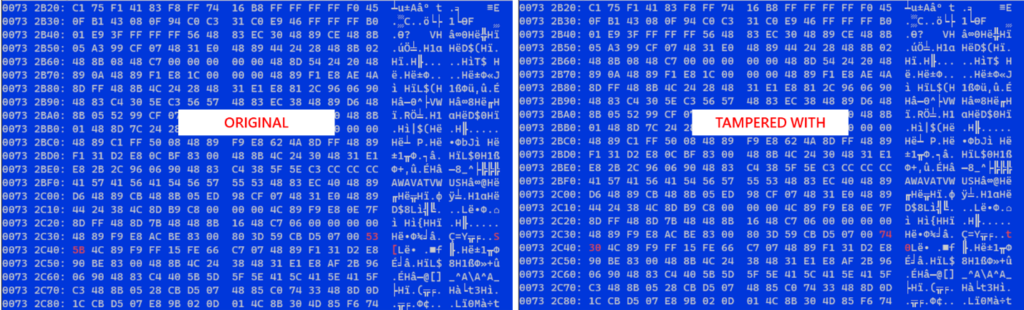 Screenshot of code comparing original and tampered with code