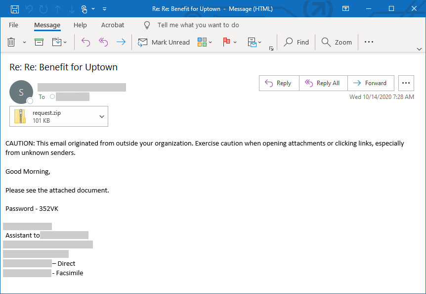 Screenshot of spear-phishing email used in the IcedID campaign