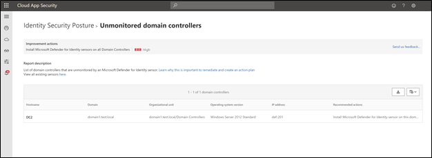 Screenshot of Microsoft Cloud App security showing unmonitored domain controllers