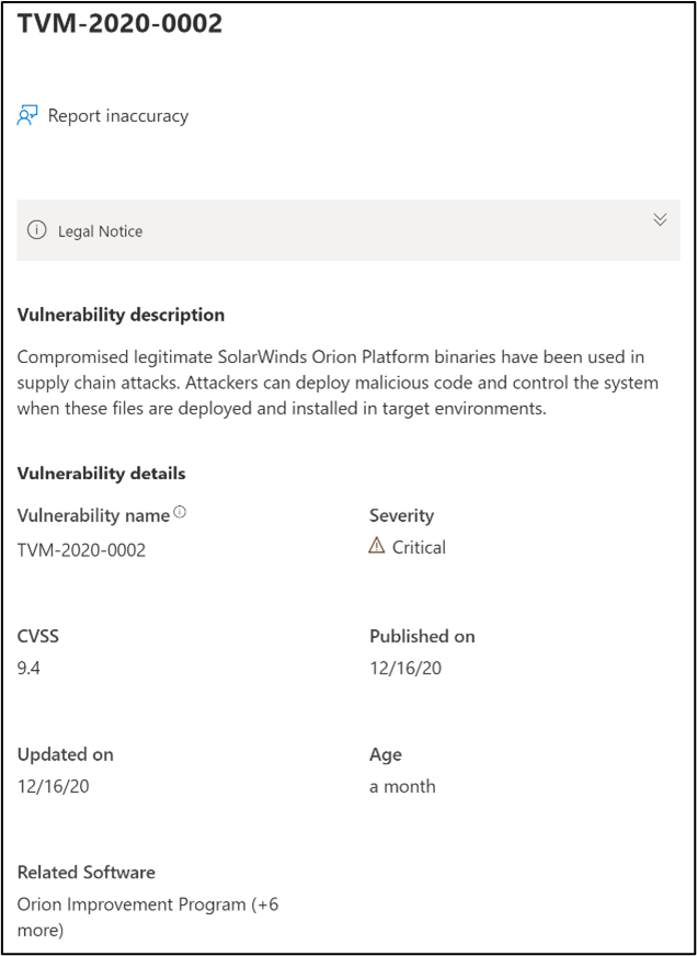 Screenshot of the vulnerability detail for TVM-2020-0002