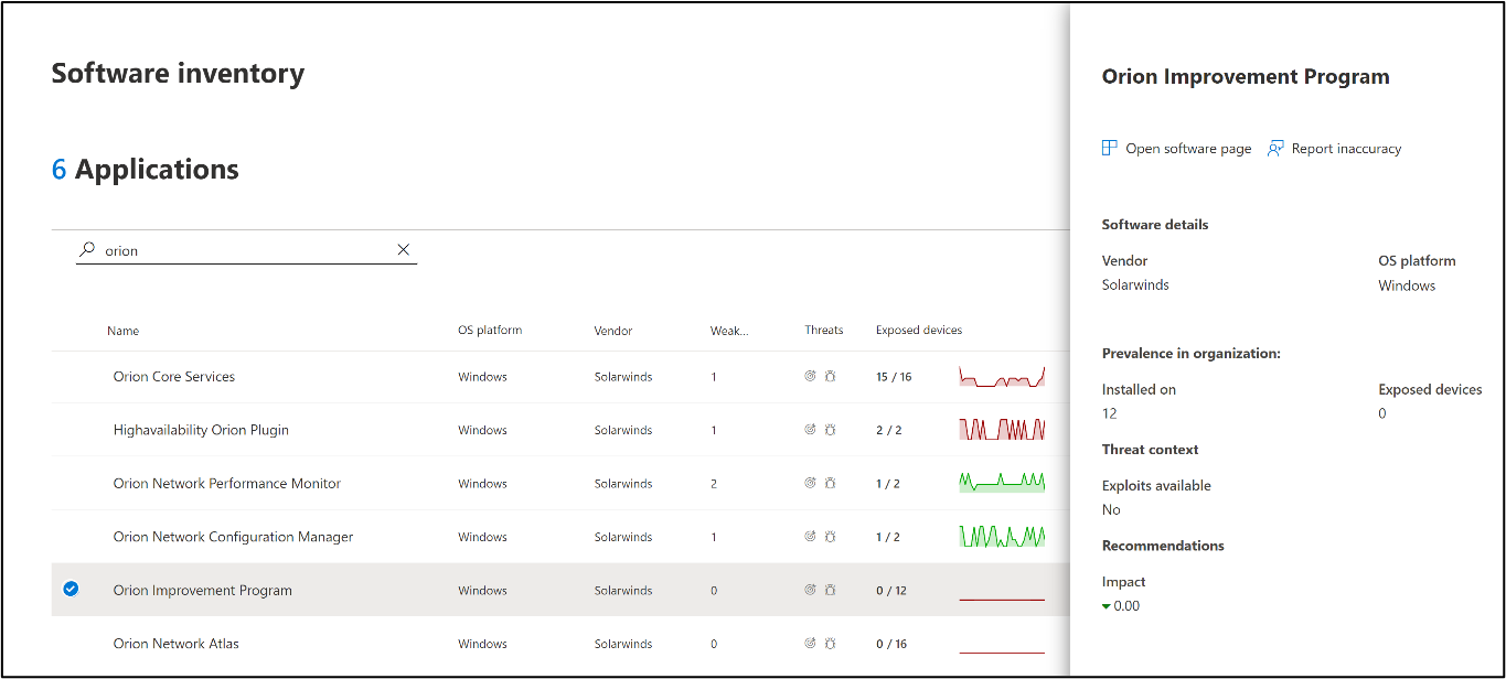 Screenshot of threat and vulnerability management software inventory page