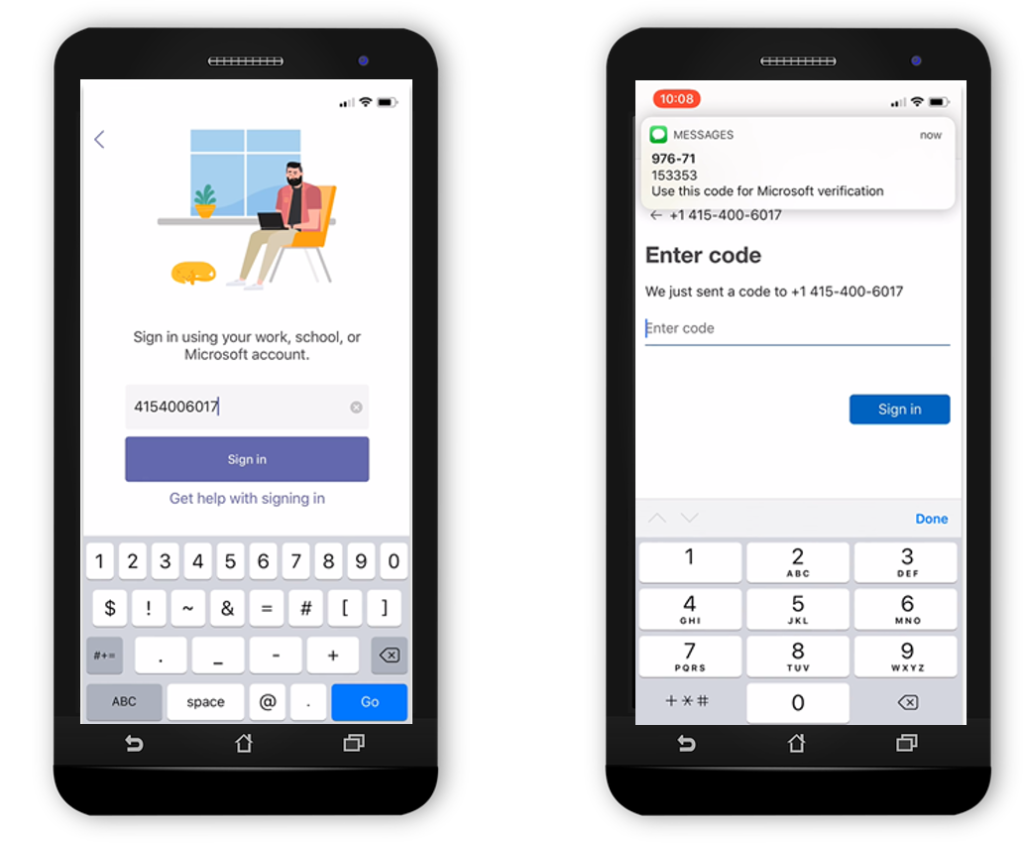 Showing SMS sign-in on two devices
