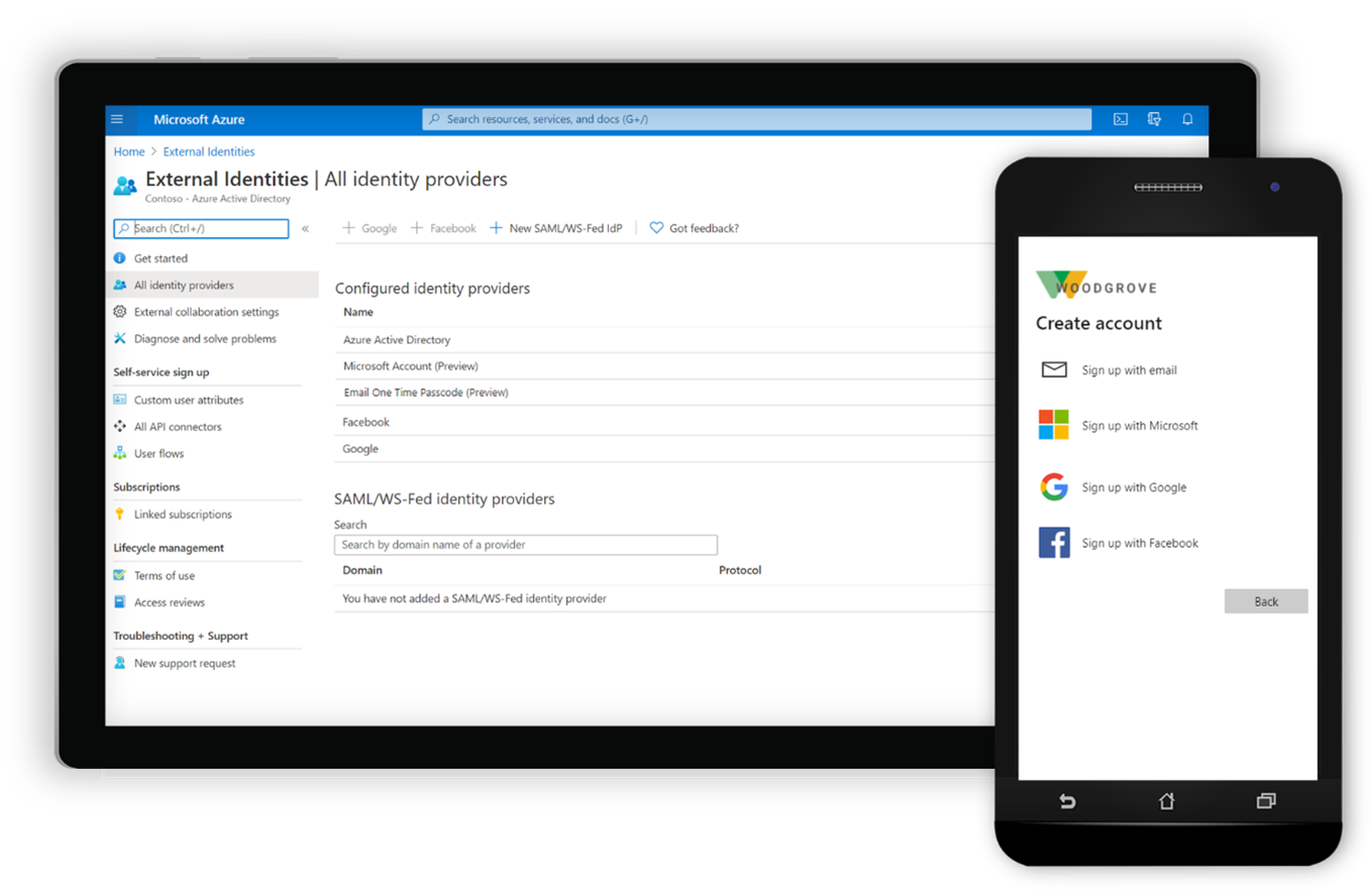 Azure AD External Identities admin portal and user experience