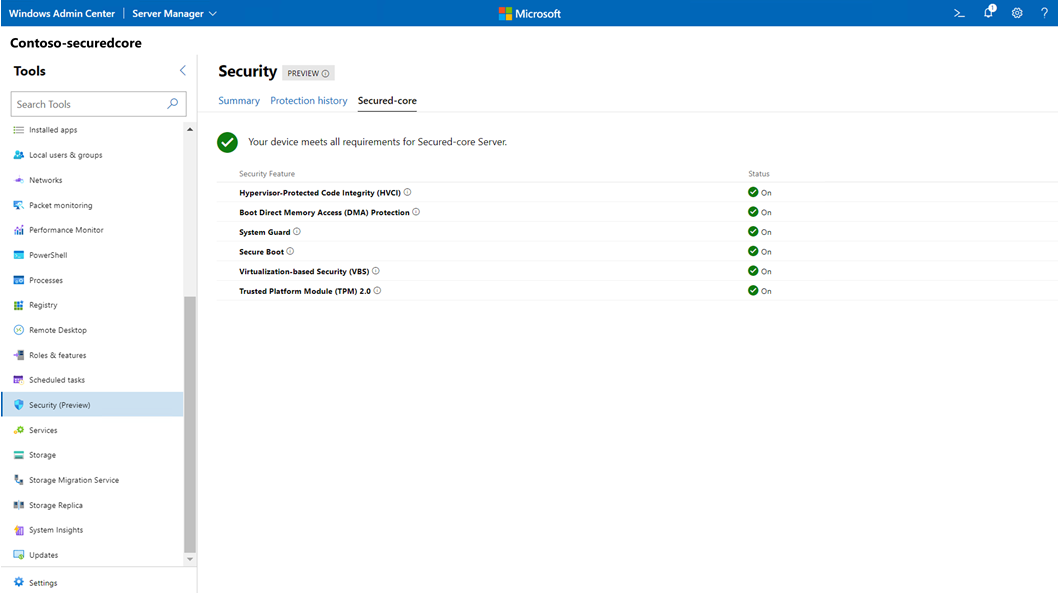 The Windows Admin Center will allow easy management of Secured-core functionality from any browser