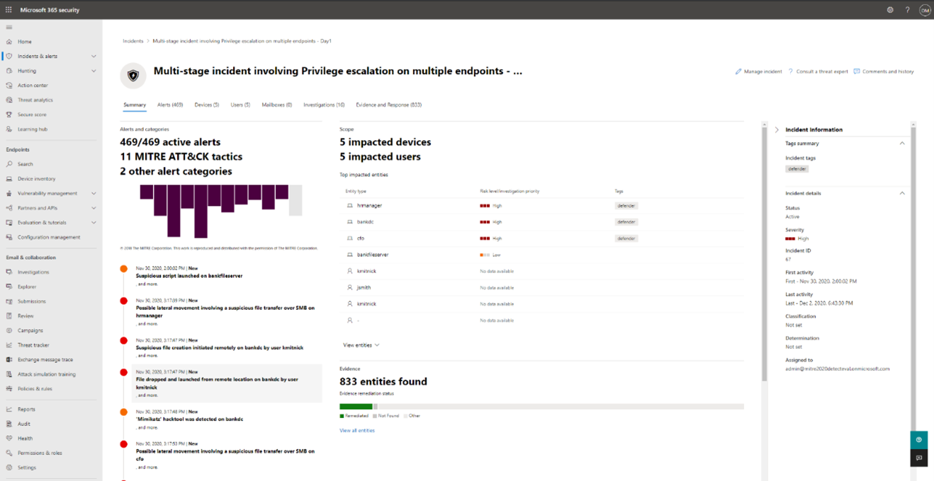 Microsoft 365 Defender incident page correlating all the devices, users, alerts, and evidence that describe the first attack simulated by MITRE Engenuity.