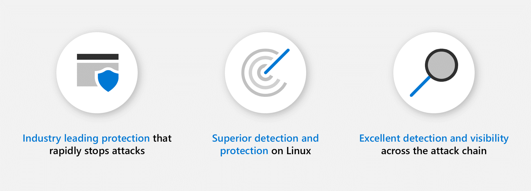 Three circular icon graphics depicting that Microsoft offers industry-leading protection, superior detection and protection on Linux, and excellent detection and visibility across the attach chain.