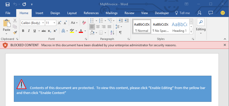 Warning message appears in a document if macros can't be enabled.