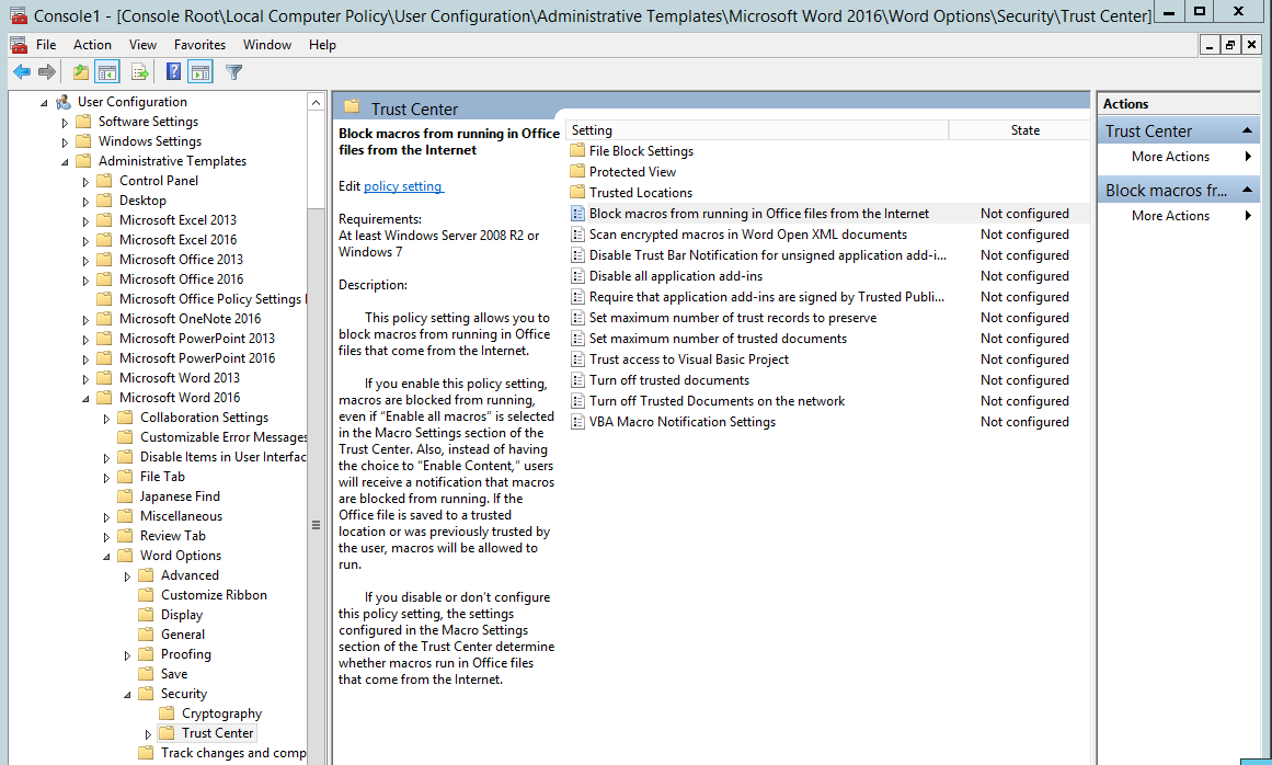 Group policy settings location.