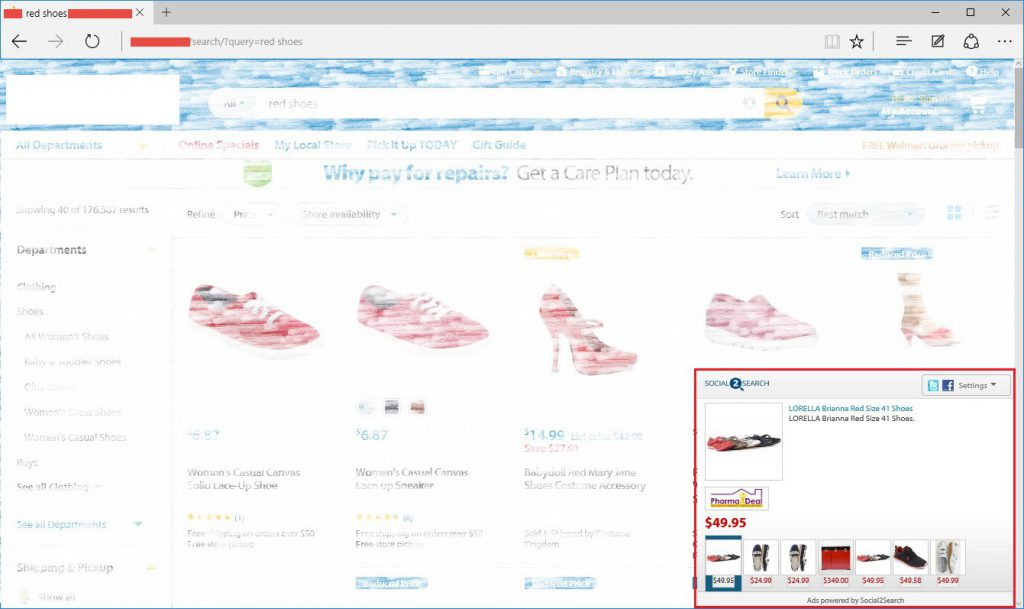 """Screenshot of Social2Search ads for """"red shoes"""" on Microsoft Edge"""