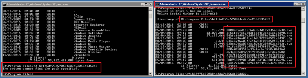 Modifying the file name of a command prompt to one of the process names above allows you to access the folder and list the files inside it