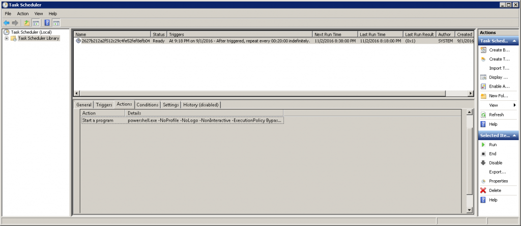 Screenshot showing that Soctuseer also creates a Scheduled Task to download updates