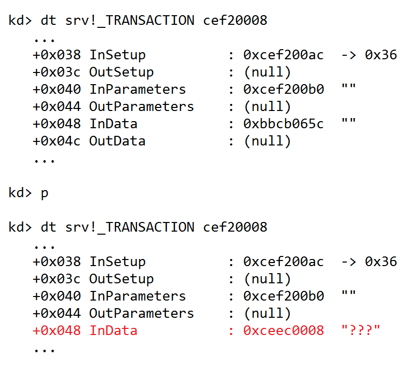 InData pointer observed in WinDbg being overwritten by heap out-of-bounds write