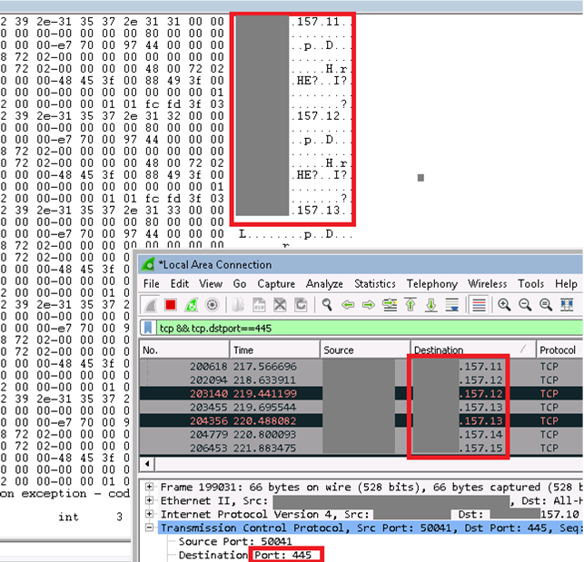This activity results in large SMB traffic from the infected host.