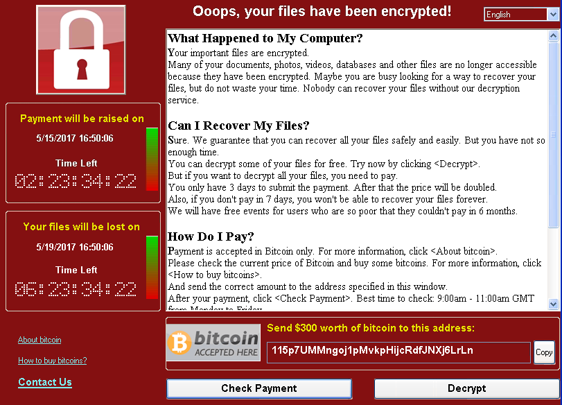 An executable showing a ransom note.