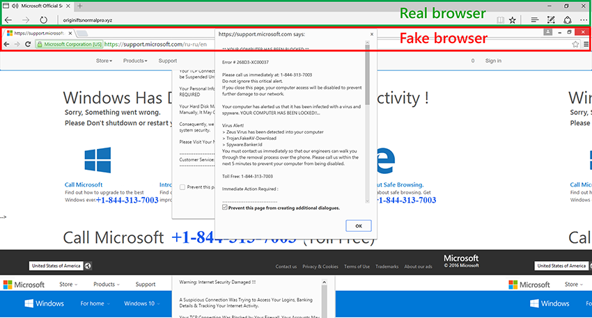 Microsoft does not deliver warning messages like this via the browser.