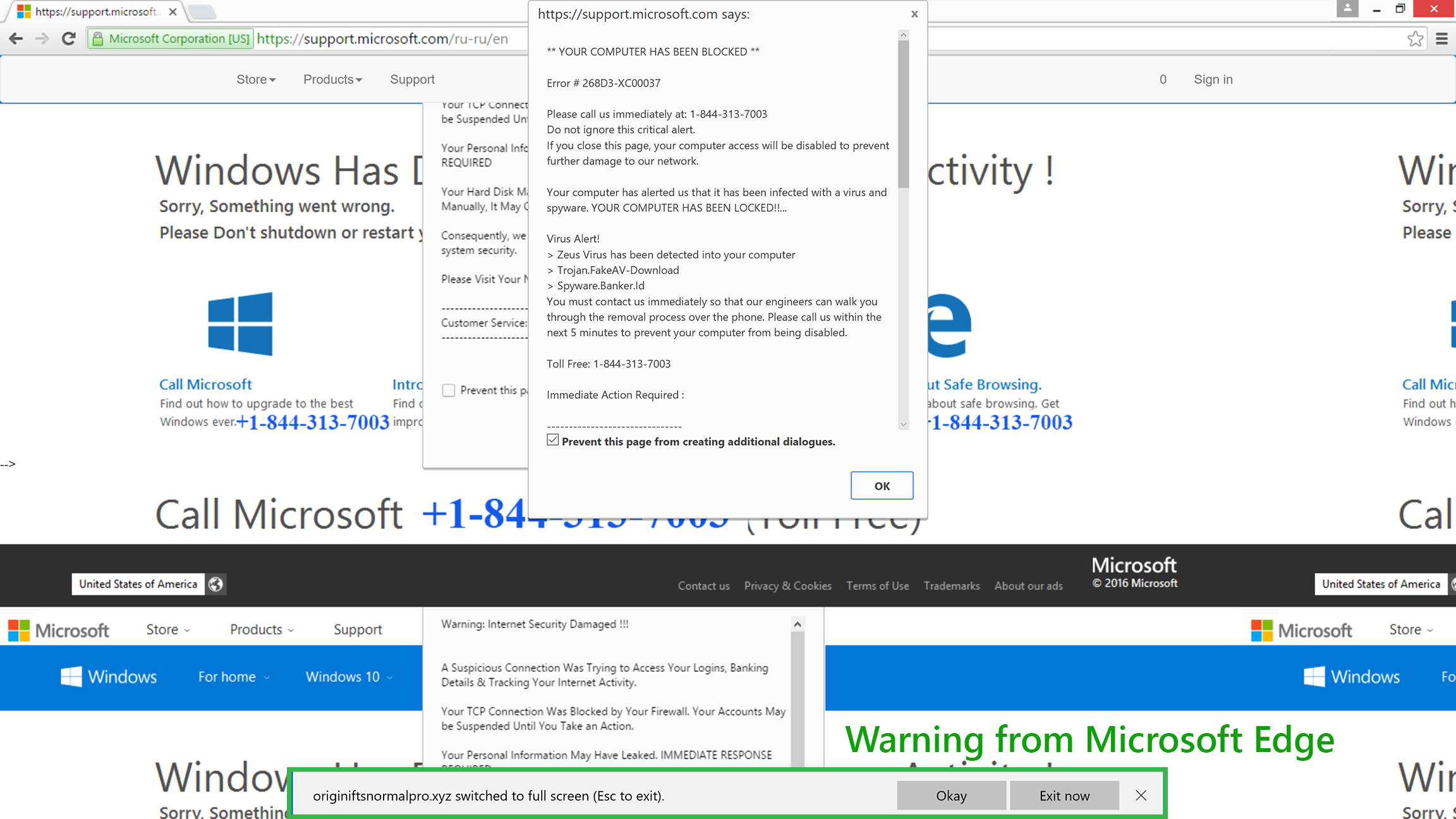 Alert from Microsoft Edge that the site has gone to full screen.