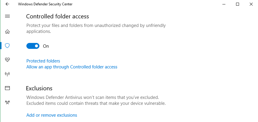 Controlled folder access.