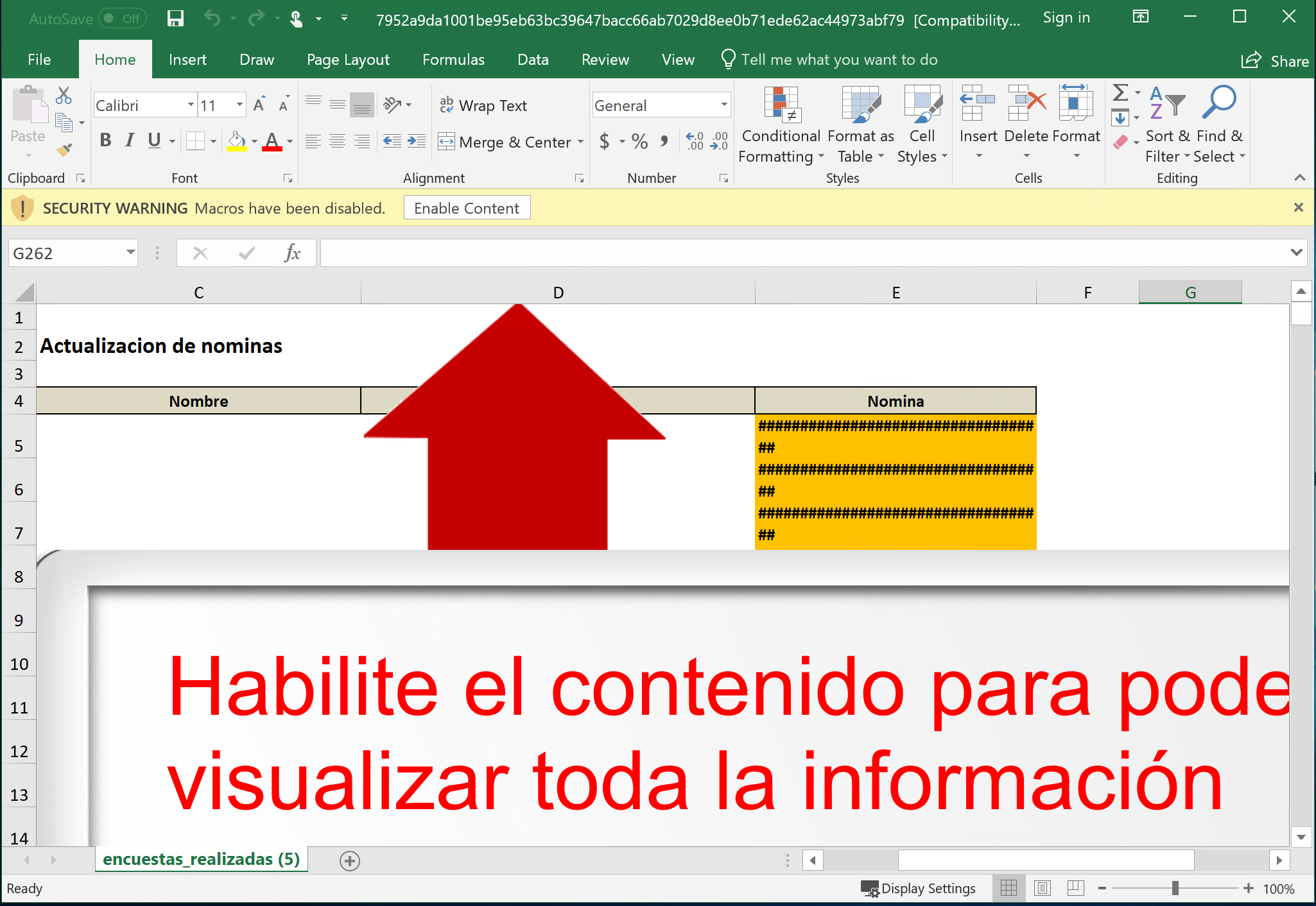 """Screenshot of Microsoft Excel with """"Macros disabled"""" Security warning and button to """"Enable Content"""""""