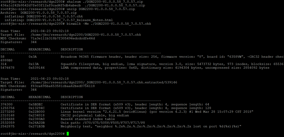 Screenshot of command line showing extraction of filesystem from the firmware