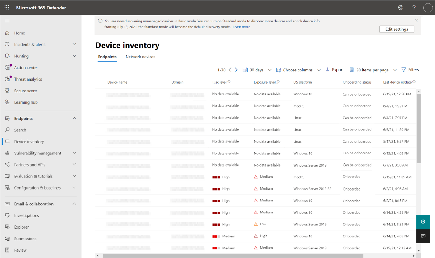 Screenshot of Microsoft 365 Defender showing Device inventory