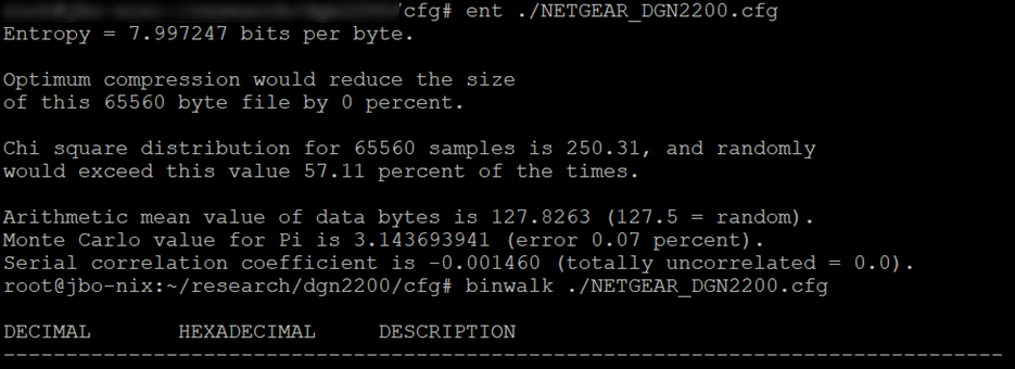 Screenshot of command line showing high-entropy configuration file