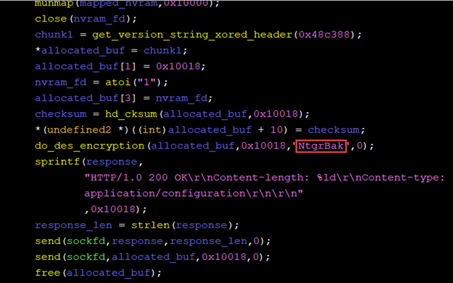 Screenshot of code showing constant password used for DES encryption