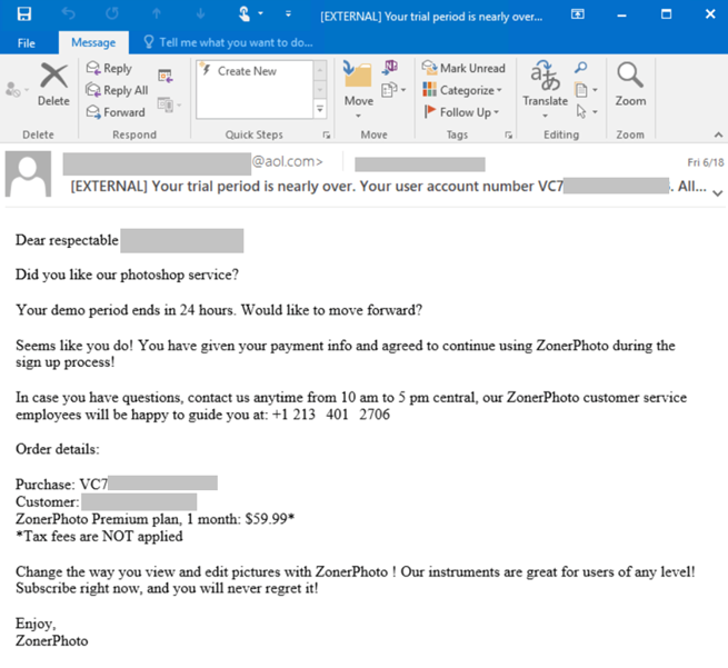 Screenshot of email used in BazaCall campaigns