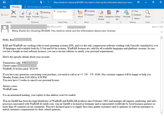 Screenshot of another email used in BazaCall campaigns