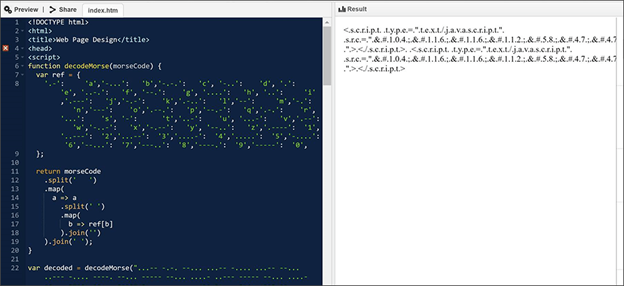 Screenshot of Morse code encoding, side by side with decoded code