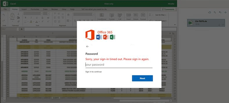 Screenshot of fake Excel file with sign-in dialog box