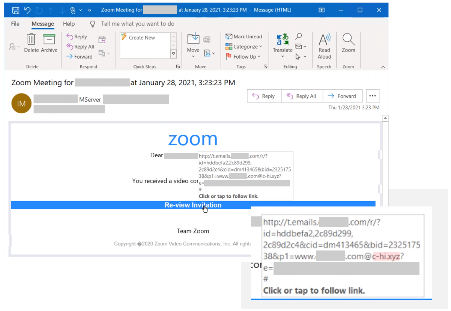 Screenshot of email showing open redirector link when mouse is hovered the link in the email
